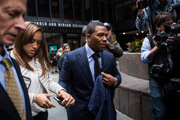 Suspended Baltimore Ravens football player Ray Rice (R) and his wife Janay Palmer arrive for a hearing on November 5, 2014 in New York City. Rice is fighting his suspension after being caught beating his wife in an Atlantic City casino elevator in February 2014