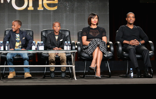 Actors Amir O'Neal, Amari O'Neill, Sharon Leal, and Larenz Tate speak onstage during the 'White Water' panel at the TV One Network portion of the 2015 Winter Television Critics Association press tour at the Langham Hotel on January 9, 2015 in Pasadena, California