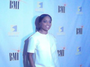 "BMI's VP of Writers/Publishers relations in Atlanta on the red carpet of BMI's  ""I Wrote That Panel."" (Photo Credit: Eunice Moseley)"