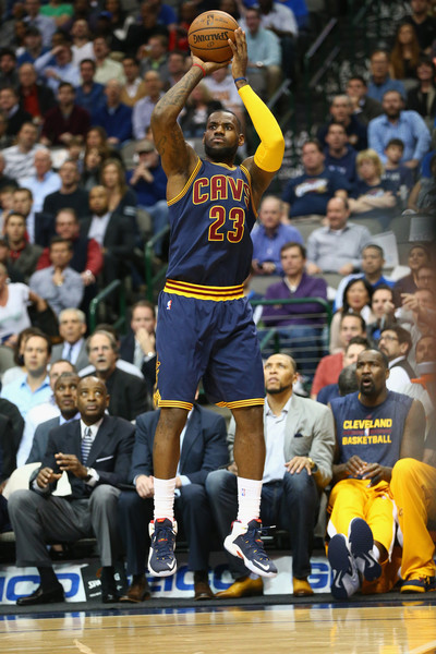 LeBron James 23 of the Cleveland Cavaliers takes a shot against the