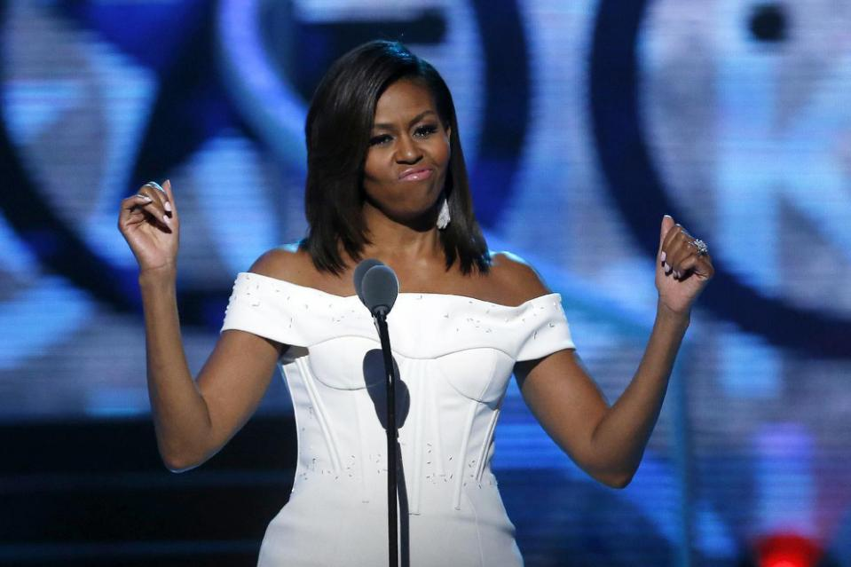 First Lady Michelle Obama speaks during a taping of the Black Girls Rock award ceremony at the New Jersey Performing Arts Center, Saturday, March 28, 2015, in Newark.
