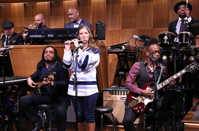 STARRING JIMMY FALLON -- Episode 0230 -- Pictured: Villanova Pep Band piccolo player Roxanne Chalifoux performs with The Roots on March 23, 2015 -- (Photo by: Douglas Gorenstein/NBC/NBCU