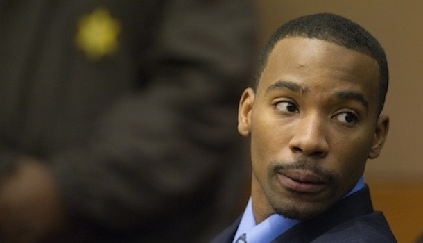 In this Sept. 27, 2011 file photo, former Washington Wizards guard Javaris Crittenton appears during a hearing on murder charges in the August drive-by shooting of 22-year-old mother of four, Julian Jones, in Fulton County Superior Court in Atlanta