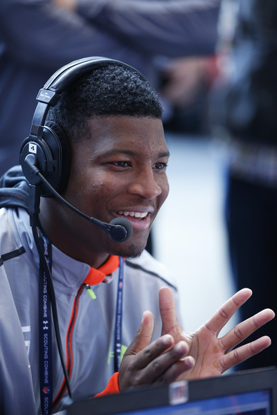 Quarterback Jameis Winston of Florida State does an interview during the 2015 NFL Scouting Combine at Lucas Oil Stadium on February 20, 2015 in Indianapolis, Indiana