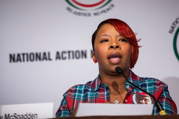"Lesley McSpadden, mother of Michael Brown- who was shot to death by a police officer - speaks on a panel titled ""The Impact of Police Brutality - The Victims Speak"" at the National Action Network (NAN) national convention on April 8, 2015 in New York City"