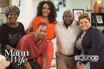 David Mann and Tamela Mann (Right) star in the new Bounce TV Original Series Mann & Wife. New episodes of Mann & Wife premiere Tuesday nights at 9pm ET/8 CT starting April 7. Mann & Wife co-stars JoMarie Payton, Tony Rock and Vivica A. Fox.