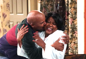 David Alan Grier and Loretta Devine hug it out. The Carmichael Show premieres Wednesday, August 5 at 9:30/8:30c on NBC.