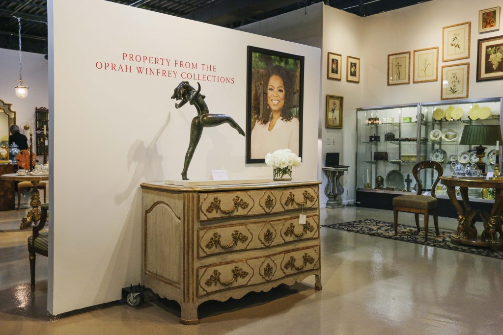 In this April 20, 2015 photo, household items from Oprah Winfrey's Chicago apartment are seen on display in a showroom at Leslie Hindman Auctioneers in Chicago.