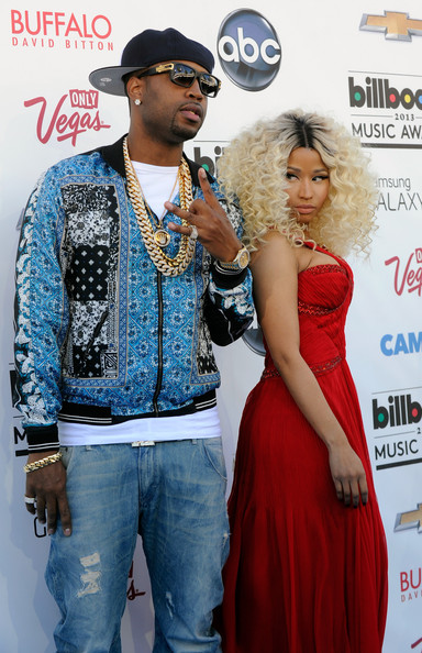 Safaree Samuels (L) and rapper Nicki Minaj arrive at the 2013 Billboard Music Awards at the MGM Grand Garden Arena on May 19, 2013 in Las Vegas, Nevada