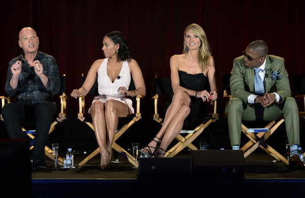"""From left to right, judges Howie Mandel, Mel B, Heidi Klum, host Nick Cannon take part in a panel discussion of reality competition series """"America's Got Talent"""" television show during NBCUniversal Summer Press Day April 2, 2015, in Pasadena, California"""