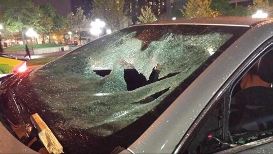 baltimore - freddie gray protests (car with broken glass windshield)