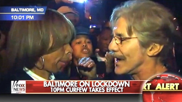 Md State Senator Catherine P. Hugh (L) is interviewed by Fox News reporter Geraldo Rivera in Baltimore (April 28, 2015)