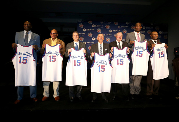 (L-R) Spencer Haywood, George Raveling, John Calipari, Dick Bavetta, Louis Dampier, Dikembe Mutombo and Jo Jo White pose for a picture during the Naismith Memorial Basketball Hall Of Fame 2014 Class Announcement at the JW Marriott on April 6, 2015 in Indianapolis, Indiana