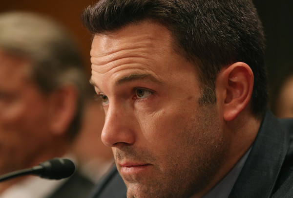 Actor Ben Affleck, founder of the Eastern Congo Initiative, listens to testimony during a Senate Appropriations Committee hearing on Capitol Hill March 26, 2015 in Washington, DC.