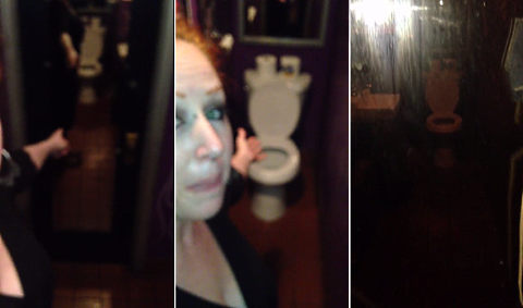 Comedienne Tamale Rose behind the scenes at Chicago comedy club, Cigars & Stripes