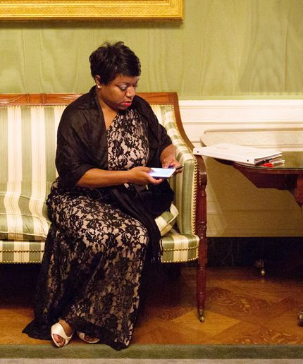 Deesha Dyer sits in Green Room after President Barack Obama, First Lady Michelle Obama, and President François Hollande of France greet State Dinner guests in the Blue Room of the White House, Feb. 11, 2014. (Official White House Photo by Chuck Kennedy))