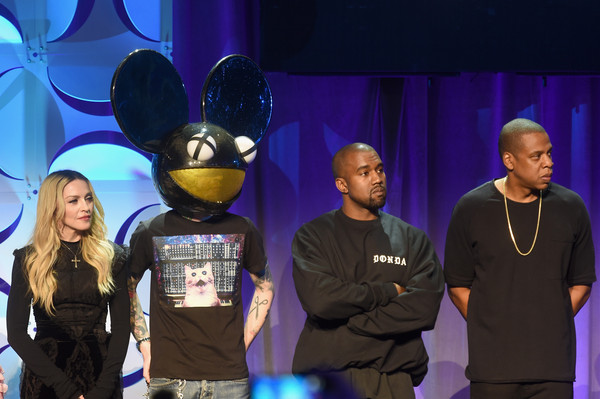 (L-R) Madonna, Deadmau5, Kanye West, and JAY Z onstage at the Tidal launch event #TIDALforALL at Skylight at Moynihan Station on March 30, 2015 in New York City.