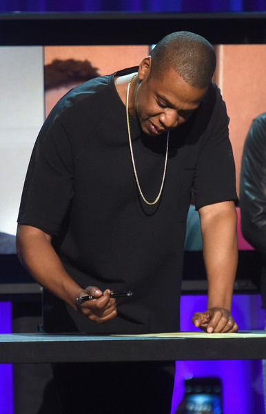 JAY Z onstage at the Tidal launch event #TIDALforALL at Skylight at Moynihan Station on March 30, 2015 in New York City