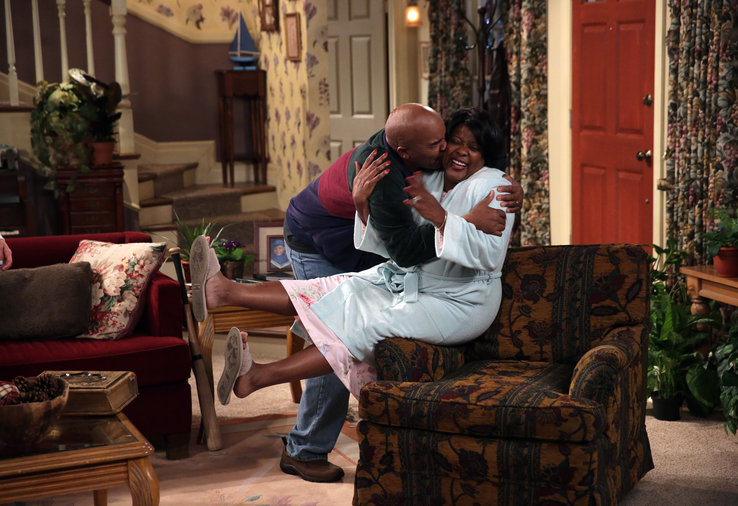 David Alan Grier and Loretta Devine hug it out. The Carmichael Show premieres Wednesday, August 5 at 9:30/8:30c on NBC