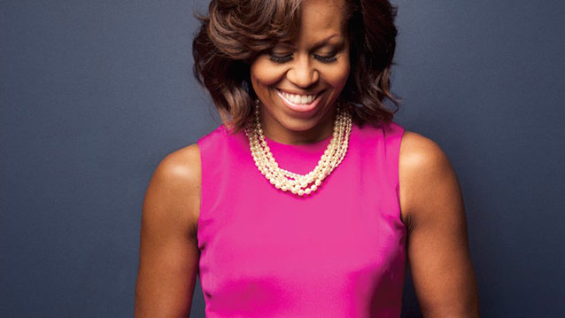 michelle obama - pink - pearls