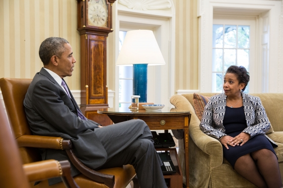 President Barack Obama meets with Attorney General Loretta Lynch in the Oval Office, April 27, 2015. (Official White House Photo by Pete Souza)