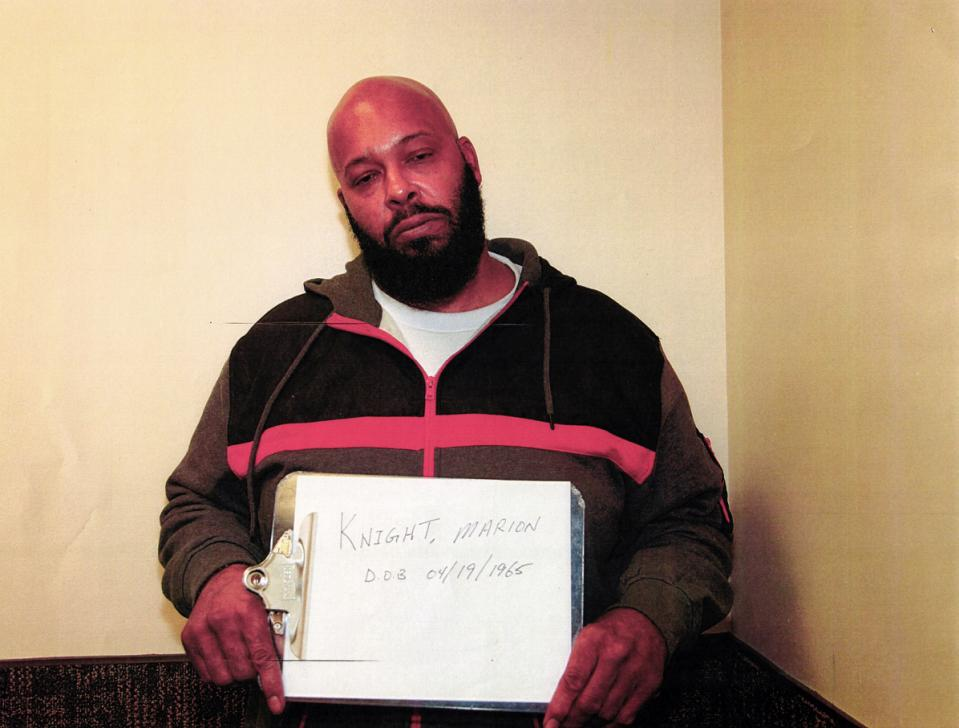 """This evidence photo by the Los Angeles County Sheriff's Office, released by Los Angeles Superior Court, is one of a series of photos showing Marion """"Suge"""" Knight after his arrest after an altercation in which his vehicle struck two men in Compton, Calif., on Jan. 29, 2015."""
