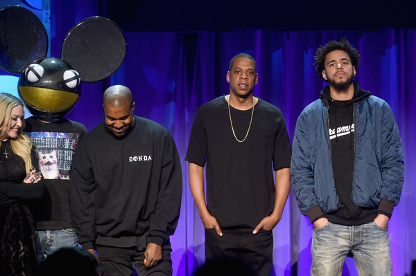 (L-R) Deadmau5, Kanye West, JAY Z, and J. Cole onstage at the Tidal launch event #TIDALforALL at Skylight at Moynihan Station on March 30, 2015 in New York City