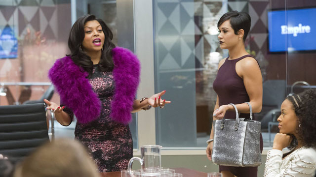 """EMPIRE: Cookie (Taraji P. Henson, L) takes over Anika's (Grace Gealey, R) meeting in the """"False Imposition"""" episode of EMPIRE"""