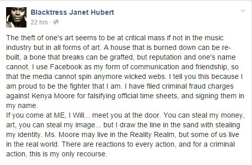 Janet Hubert Facebook post blassting Kenya Moore
