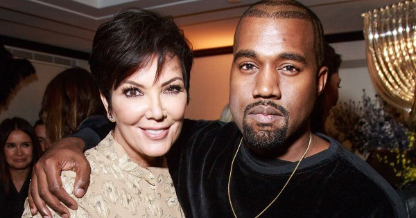 Kris Jenner (L) with son-in-law, Kanye West (R)