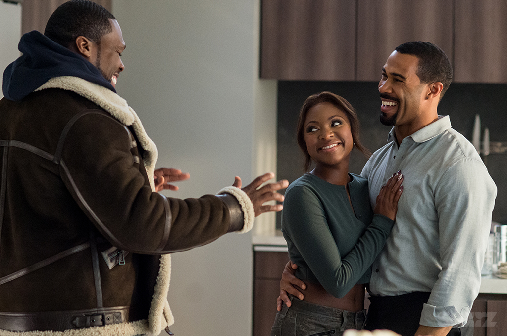 "50 Cent (L), Naturi Naughton and Omari Hardwick in season 2 of the Starz original series ""Power"""