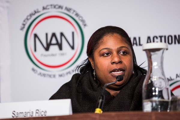 """Samaria Rice, mother of Tamir Rice- who was shot to death by a police officer - speak on a panel titled """"The Impact of Police Brutality - The Victims Speak"""" at the National Action Network (NAN) national convention on April 8, 2015 in New York City."""
