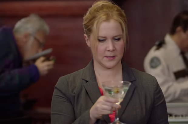 """Amy Schumer thinks twice about a cocktail sent by her client Bill Cosby in a sketch on """"Inside Amy Schumer"""""""