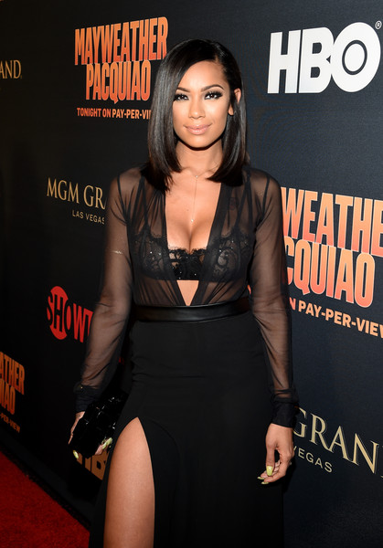 """Actress Erica Mena attends the SHOWTIME And HBO VIP Pre-Fight Party for """"Mayweather VS Pacquiao"""" at MGM Grand Hotel & Casino on May 2, 2015 in Las Vegas"""