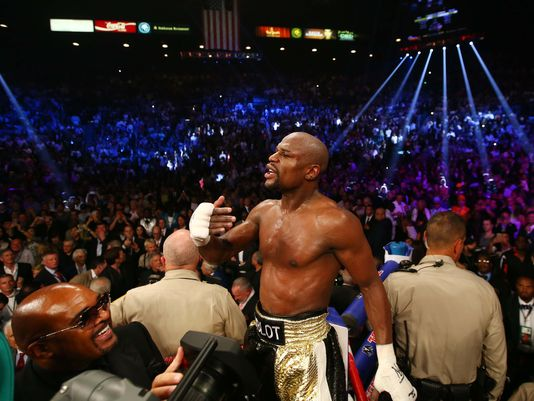 Floyd Mayweather reacts after his welterweight championship bout against Manny Pacquiao at MGM Grand Garden Arena.