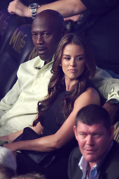 Michael Jordan and wife Yvette Prieto watches the Leo Santa Cruz against Jose Cayetano featherweight bout on May 2, 2015 at MGM Grand Garden Arena in Las Vegas, Nevada