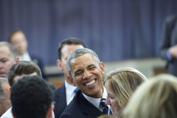 U.S. President Barack Obama greets supporters after giving a speech at the Salvation Army, Ray & Joan Kroc Corps Community Center May 18, 2015 in Camden, New Jersey.