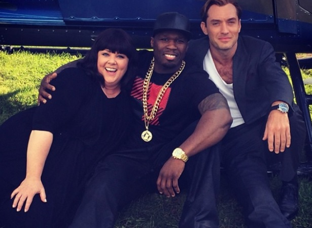 Melissa McCarthy, 50 Cent & Jude Law on the set of 'Spy'