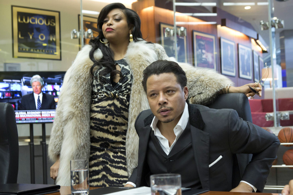 Cookie Lyon (Taraji P. Henson, L) visits Lucious Lyon (Terrence Howard, R) to claim her share of the company in the premiere episode of EMPIRE
