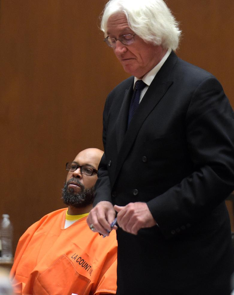 """Marion """"Suge"""" Knight appears in court during an arraignment with his attorney Thomas Mesereau in Los Angeles Friday, May 29, 2015."""