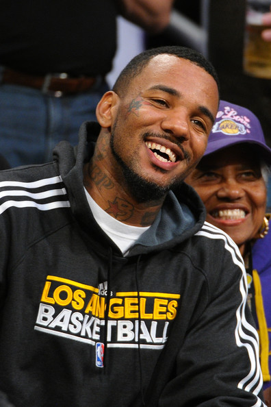 The Game and his grandmother attend the Los Angeles Lakers and Denver Nuggets game 7 of the Western Conference Quarterfinals in the 2012 NBA Playoffs on May 12, 2012 at Staples Center in Los Angeles