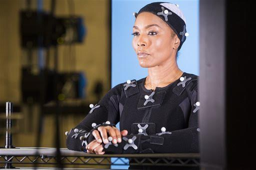 "This undated photo provided by Ubisoft shows actress Angela Bassett during a motion capture session for her character, in the video game, ""Rainbow Six: Siege."" (Colin Young-Wolff/Ubisoft via AP)"