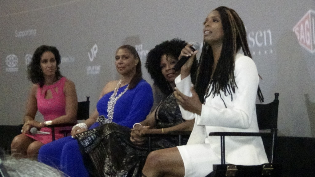 """Panel discussion after world premiere of """"Boxed In"""". Directed by Tasha Smith."""