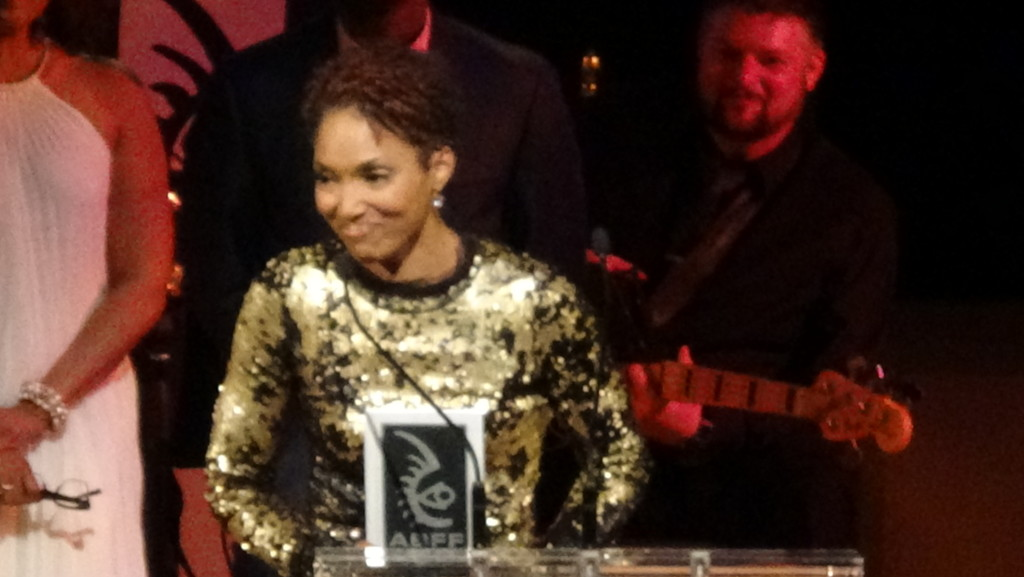 Actress Lisa Arrindell Anderson accepting her award at the 2015 ABFF Awards Ceremony