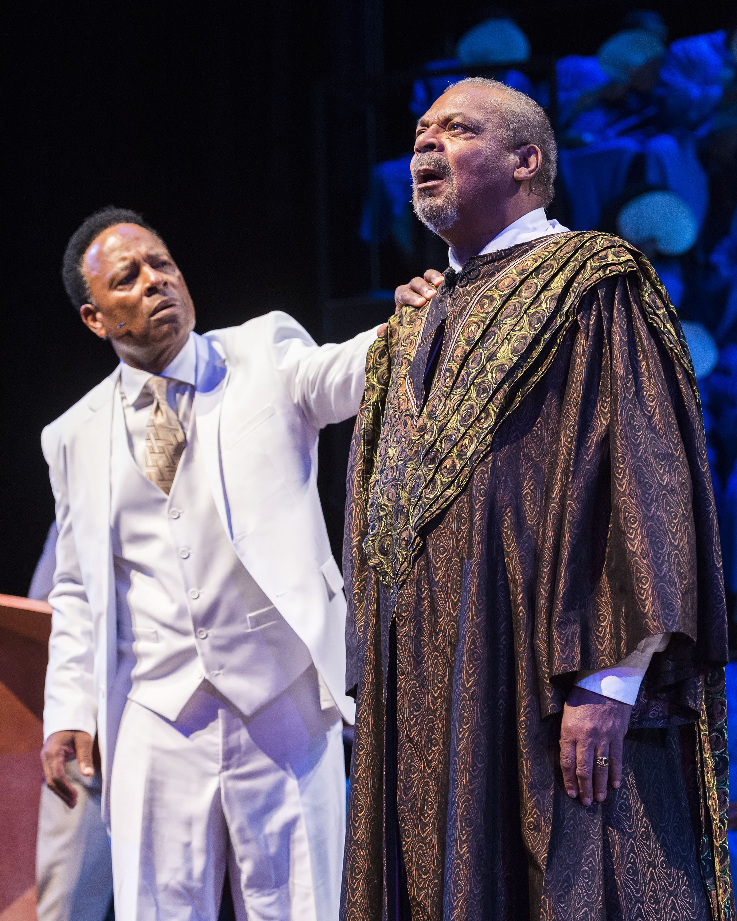 "William Allen Young (L) and Roger Robinson (R) in  a scene from ""The Gospel at Colonus."" Photo credit: Craig Schwartz."