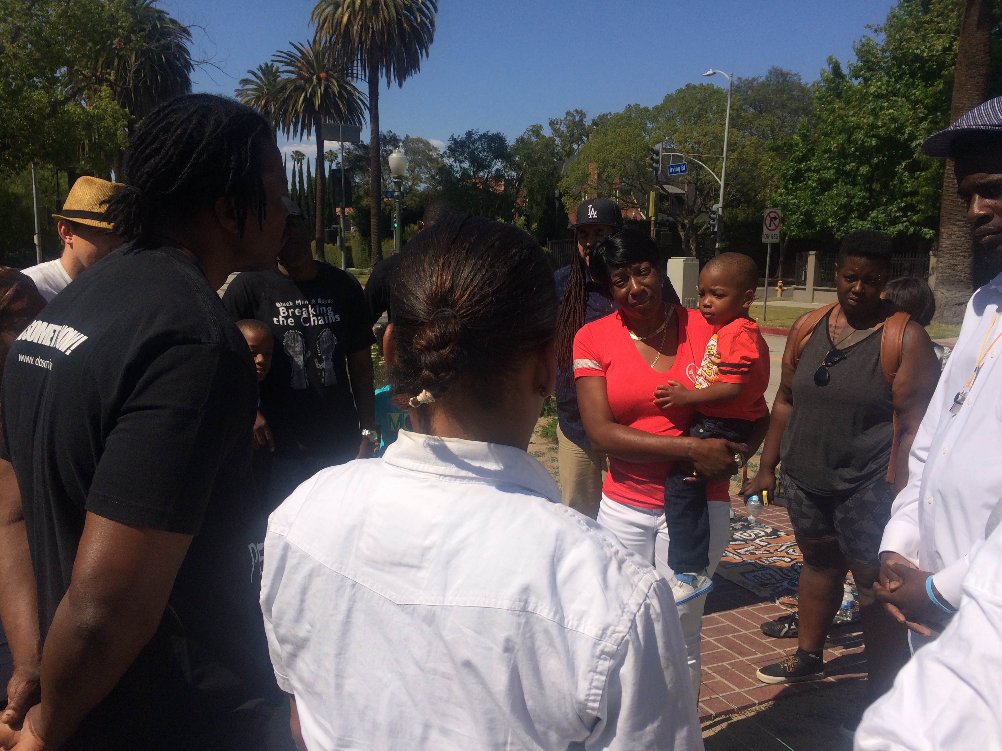 Tritobia Ford, mother of Ezell Ford killed by LAPD in August 2014, joins Black Lives Matter protesters in front LA Mayor Eric Garcetti's home on Sun. Jun 7.