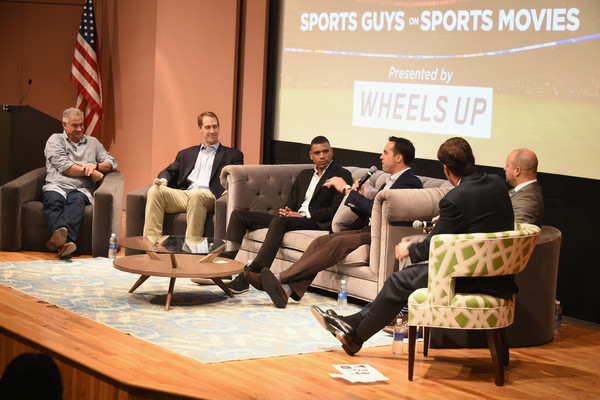 (L-R) Cary Woods, Patrick Kerney, Allan Houston, Mark Teixeira, Ryen Russillo and Mike Greenberg speak on stage at Greenwich Film Festival 2015 - Sports Guys On Sports Movies Premiere & After Party at Cole Auditorium at Greenwich Library on June 4, 2015 in Greenwich, Connecticut