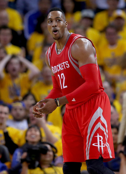 Dwight Howard #12 of the Houston Rockets reacts in the first half while taking on the Golden State Warriors during game five of the Western Conference Finals of the 2015 NBA Playoffs at ORACLE Arena on May 27, 2015 in Oakland, California