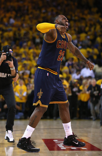 LeBron James #23 of the Cleveland Cavaliers celebrates their 95 to 93 win over the Golden State Warriors in overtime during Game Two of the 2015 NBA Finals at ORACLE Arena on June 7, 2015 in Oakland, California