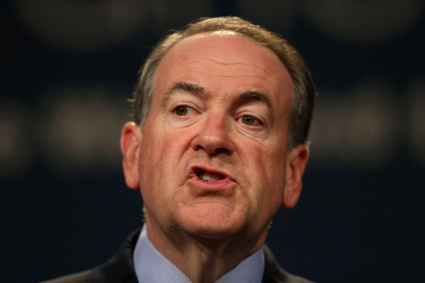 Former Arkansas Governor Mike Huckabee and Republican presidential candidate speaks during the Rick Scott's Economic Growth Summit held at the Disney's Yacht and Beach Club Convention Center on June 2, 2015 in Orlando, Florida